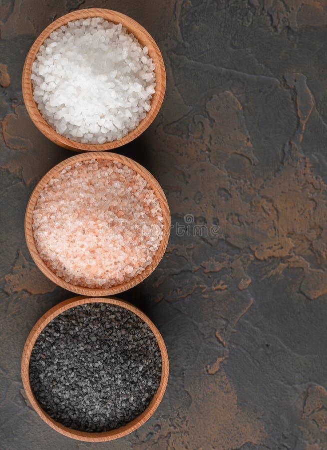 Het witte overzees, doorboort himalayan en zwarte zouten in houten kommen op donkere achtergrond royalty-vrije stock afbeelding