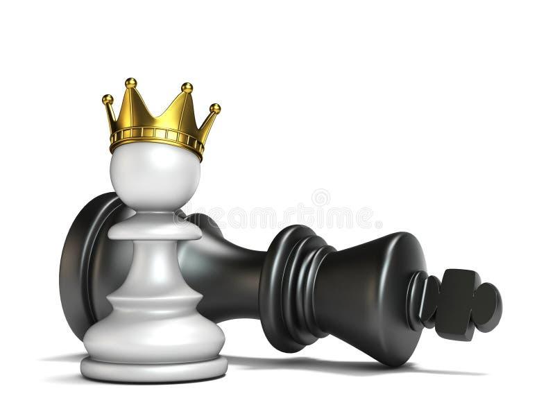 Het witte pand heeft zwarte 3D koning gewonnen stock illustratie