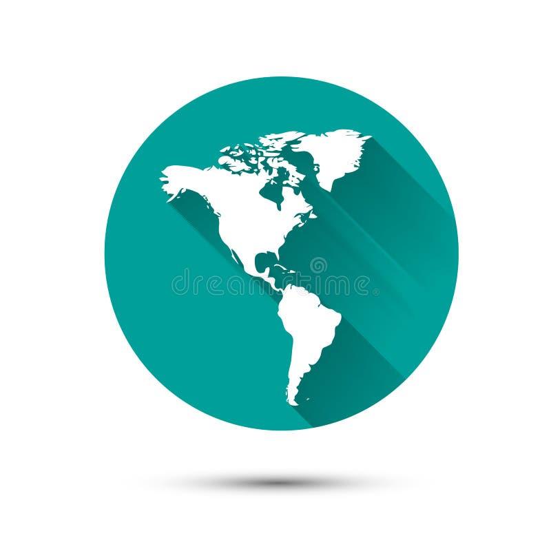 Het witte pictogram van de aardebol op groene achtergrond met stock illustratie