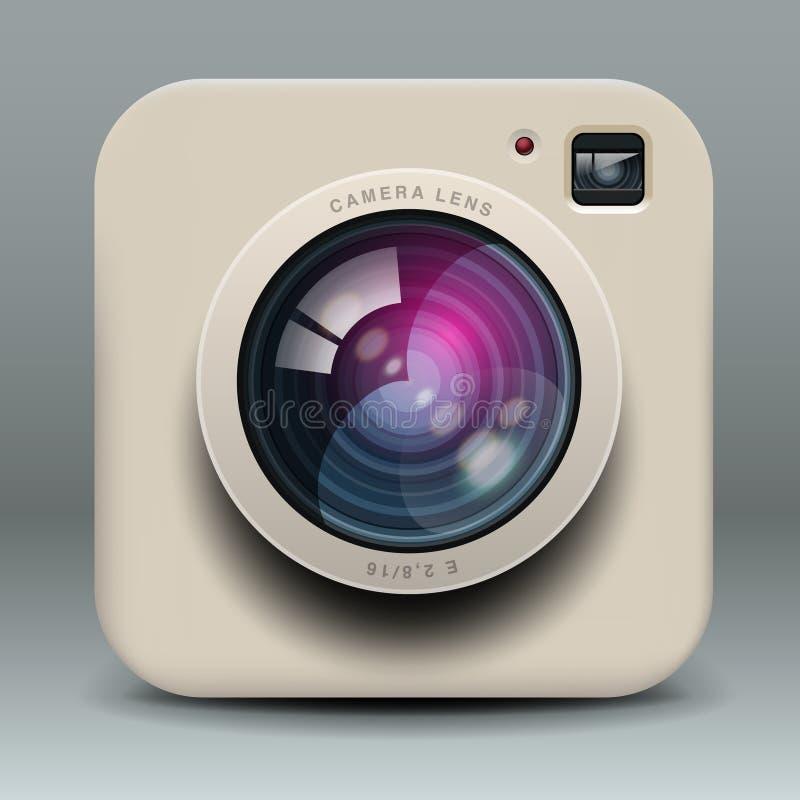 Het witte pictogram van de fotocamera stock illustratie