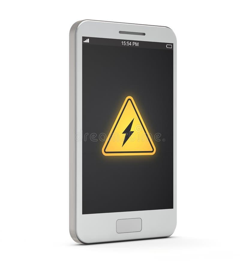 Het witte pictogram van de smartphonebatterij allert op het scherm stock illustratie