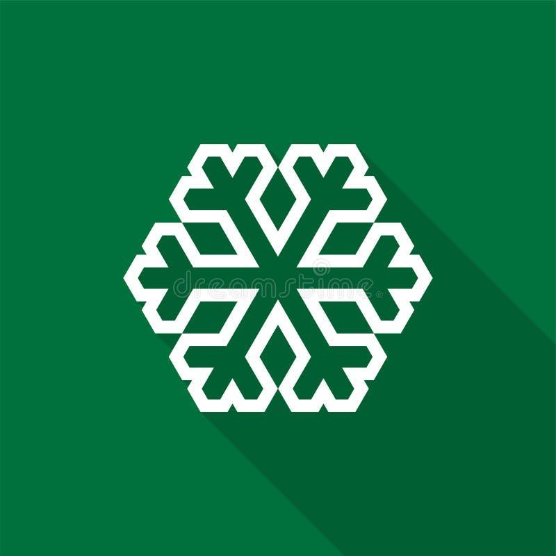 Het witte pictogram van het sneeuwvlokoverzicht met lange schaduw op groene achtergrond vector illustratie