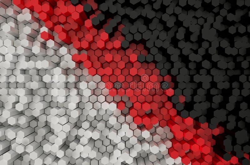 Het witte rode en zwarte Hexagon patroon 3d teruggeven vector illustratie