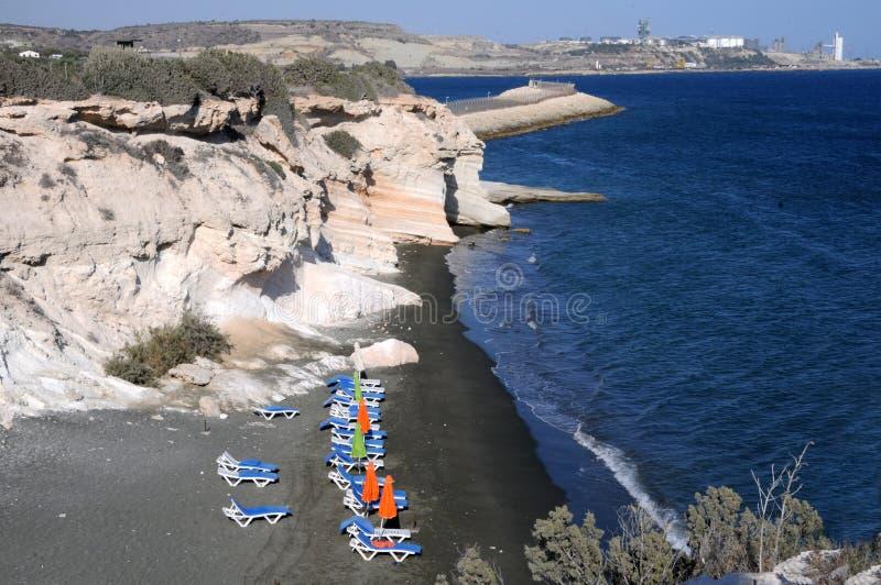 Het witte strand in Cyprus royalty-vrije stock afbeelding
