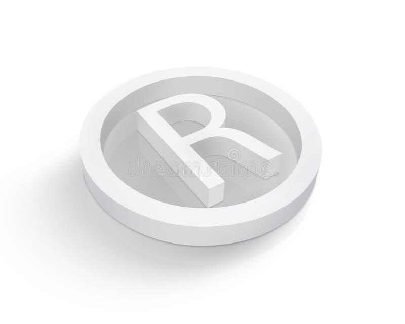 Het witte symbool van het Gedeponeerde handelsmerk vector illustratie