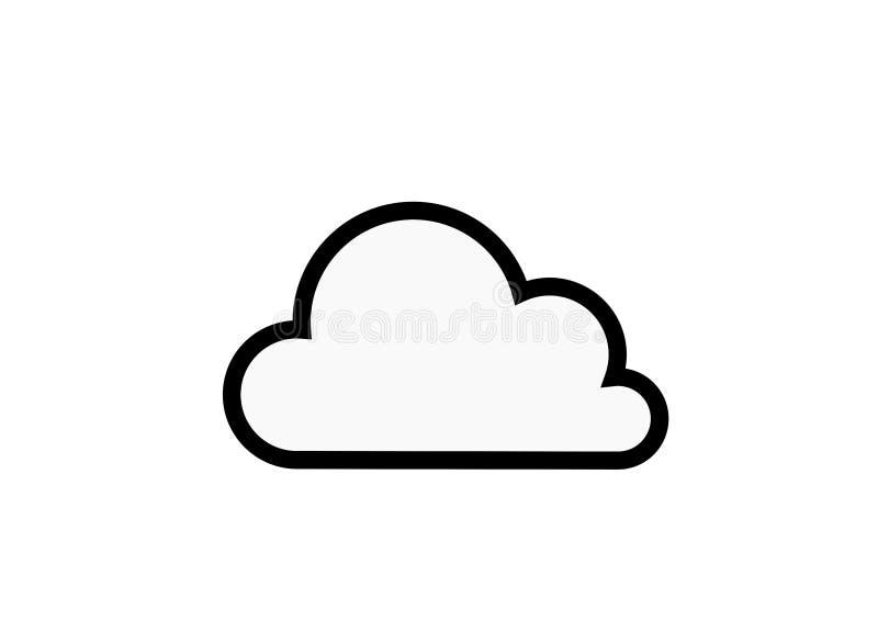 Het witte teken van Internet van de wolkenpictogram geïsoleerde contour vector stock illustratie