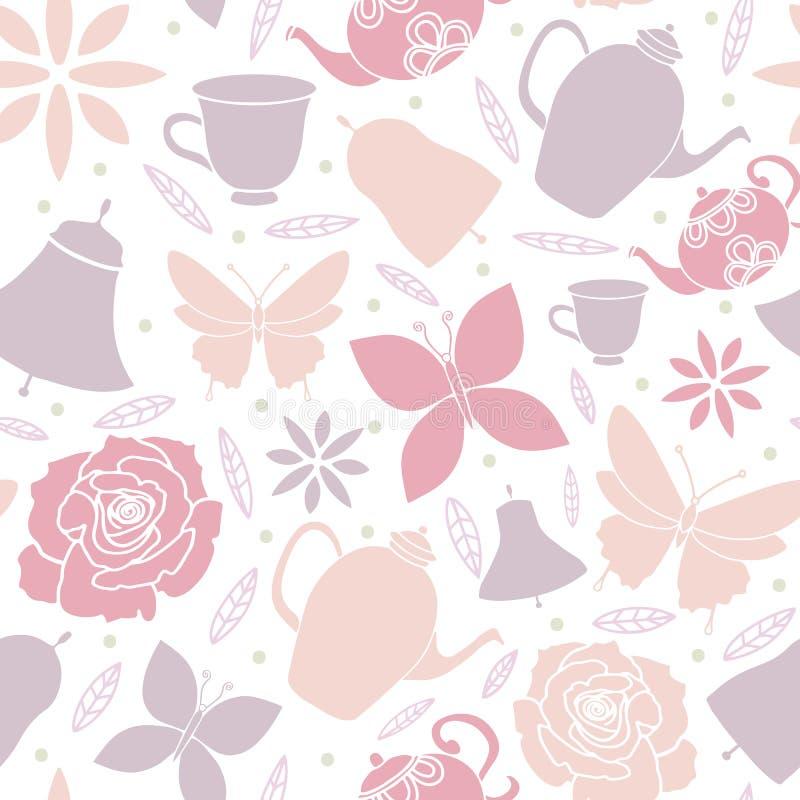 Het witte van de de Theepottenlente van Vlinderbloemen van de Tuintea party Naadloze Patroon stock illustratie