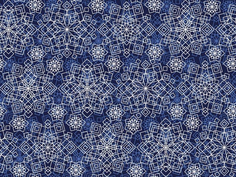 Het witte van de de vorstbloem van kantkerstmis naadloze patroon royalty-vrije illustratie