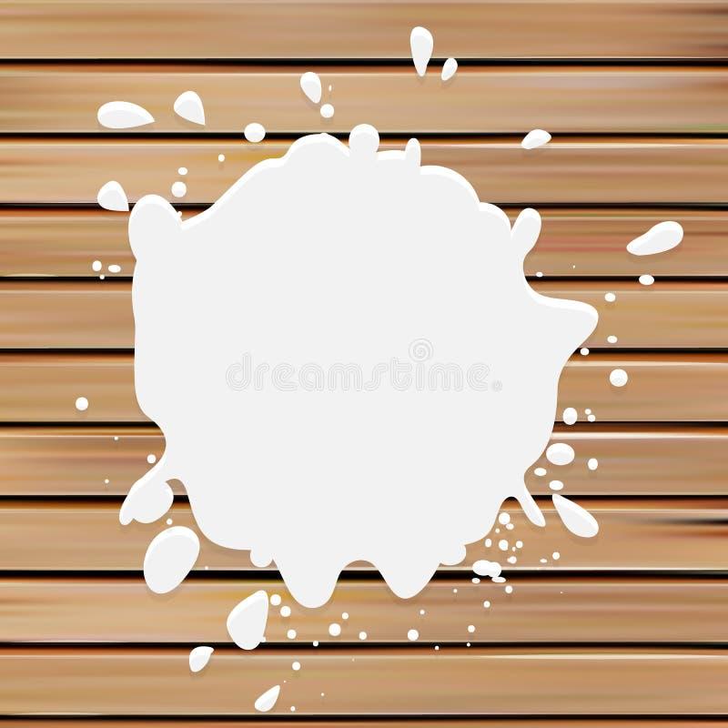 het witte vectorembleem van de kleurenvlek Melk logotype De illustratie van de verfvlek op de houten achtergrond royalty-vrije illustratie