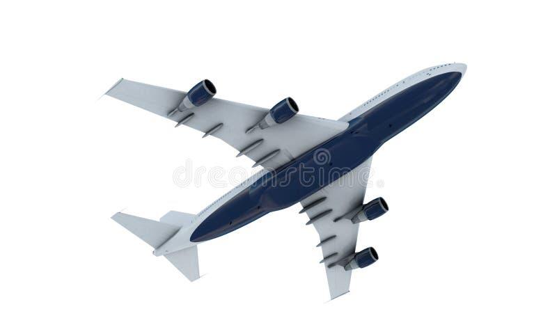 Het witte vliegtuig vliegen Vliegtuig Boeing 747 isoleer stock fotografie