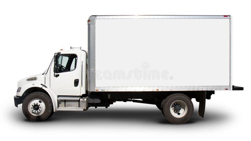 Het witte Zijaanzicht van de Vrachtwagen van de Levering stock afbeelding