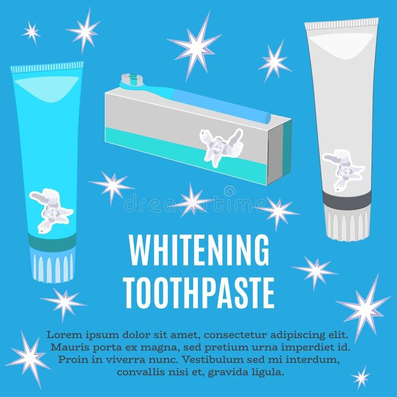 Het witten van de vector vlakke illustratie van de tandpastaadvertentie royalty-vrije illustratie