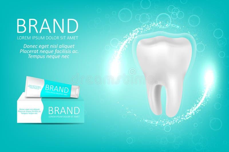 Het witten van tandpastaadvertentie vector illustratie