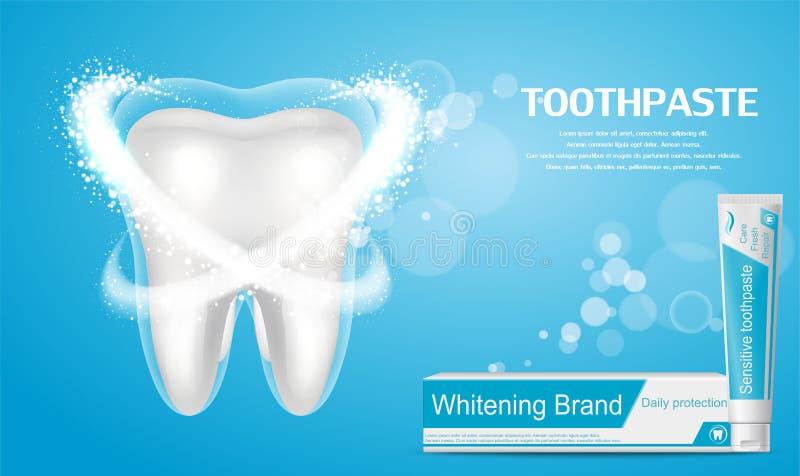 Het witten van tandpastaadvertentie Grote gezonde tand vector illustratie