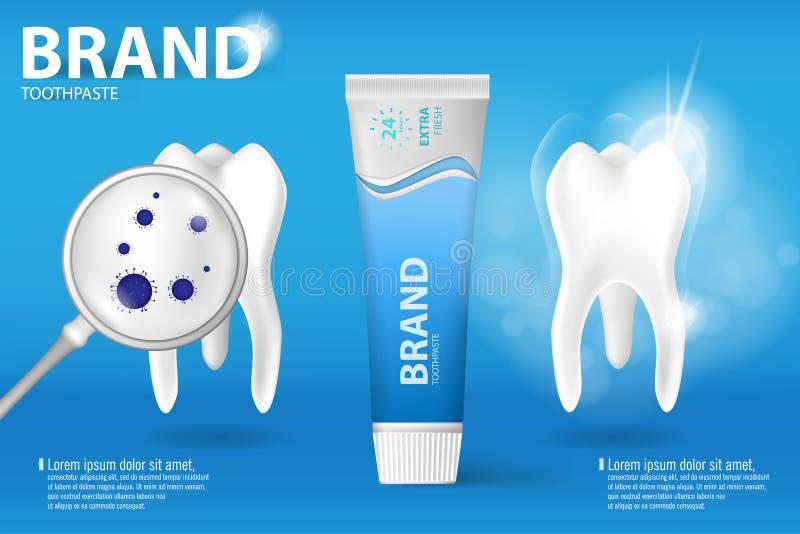 Het witten van tandpastaadvertentie Realistische schone en vuile tand op blauwe achtergrond, het ontruimen tandproces met aroma v vector illustratie