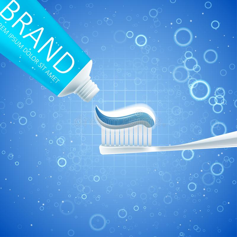 Het witten van tandpastaadvertenties stock illustratie