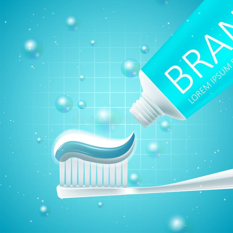 Het witten van tandpastaadvertenties royalty-vrije illustratie