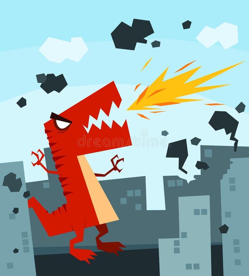 Het woeden Dino vector illustratie
