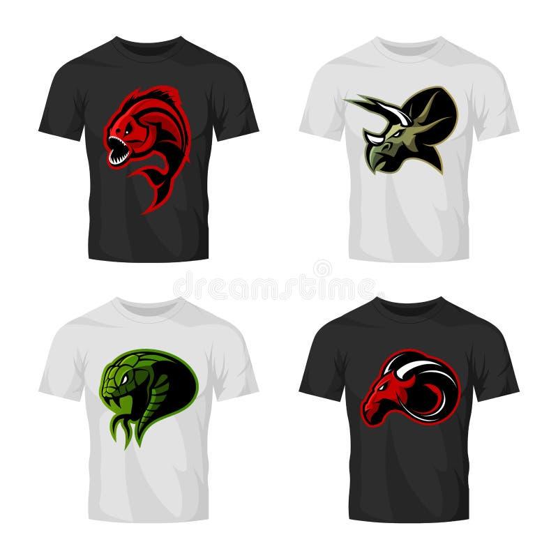 Het woedende piranha, rams, slang en dinosaurus hoofdconcept van het sport vectorembleem plaatste op t-shirtmodel royalty-vrije illustratie