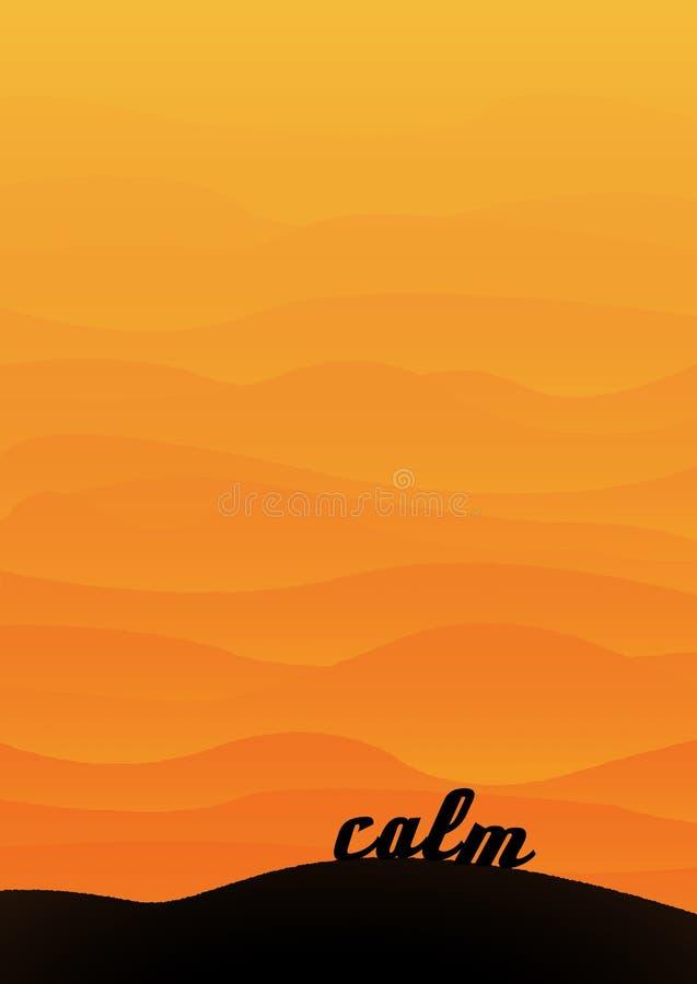 Het woestijnlandschap met bergen of de heuvels in lagen bij zonsondergang met het woord kalmeren in de voorgrond stock foto's