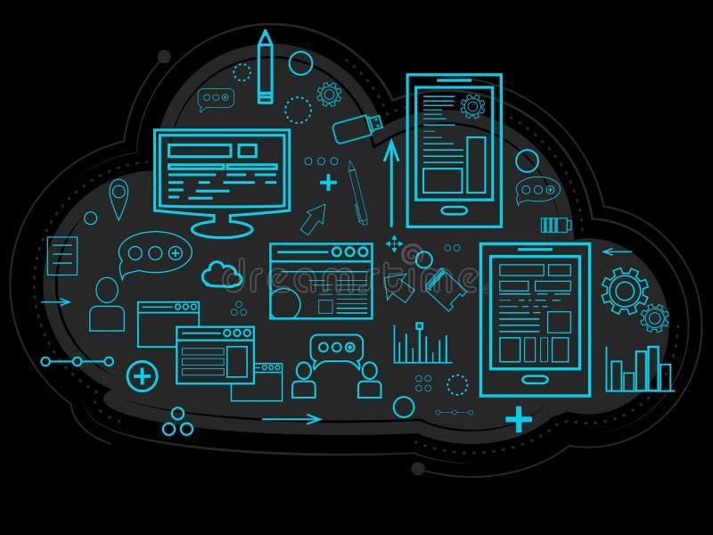 Het wolkengegeven wordt opgeslagen over de server, informatie over mensen, grafieken, rapporten, het geheugen van het werk en mon royalty-vrije illustratie