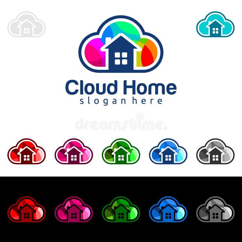 Het wolkenhuis, het vector het embleemontwerp van Real Estate met Huis en de wolkenvorm, vertegenwoordigden Internet, Gegevens of royalty-vrije illustratie
