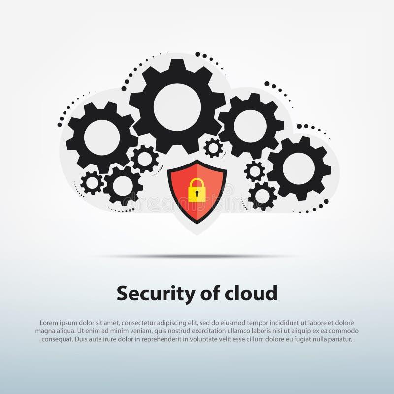Het wolkensysteem werkt met geavanceerd veiligheidsmalplaatje, royalty-vrije stock foto's