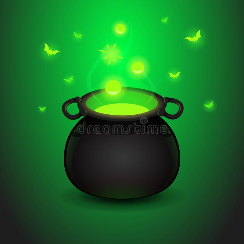 Het wondermiddel van de beeldverhaalillustratie met de boiler op een donkergroene achtergrond vector illustratie