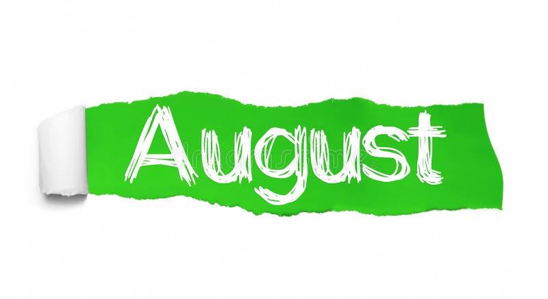 Het woord Augustus die achter groen gescheurd document verschijnen royalty-vrije illustratie