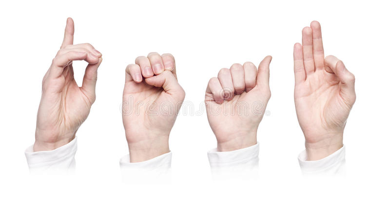 Het woord ?doof? in gebarentaal stock afbeeldingen
