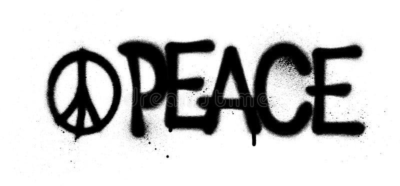 Het woord en het symbool van de graffitivrede in zwarte wordt bespoten die stock illustratie