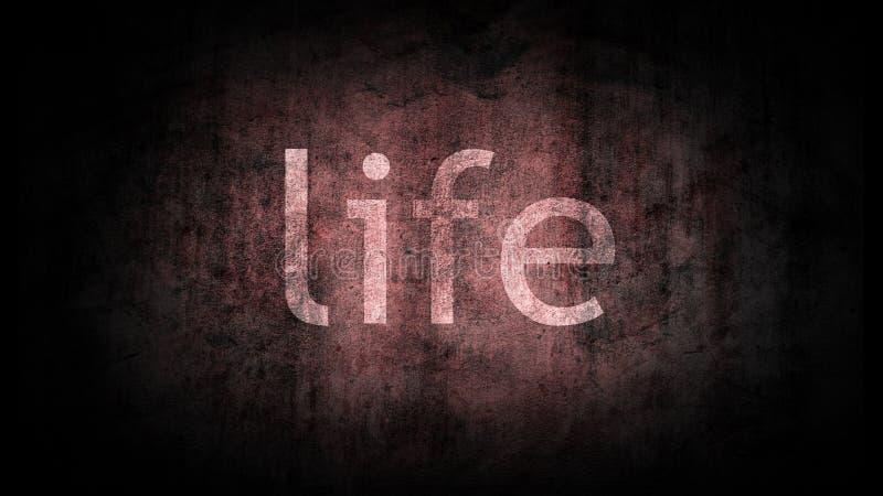 Het woord` leven ` op de oude achtergrond wordt geschreven die vector illustratie