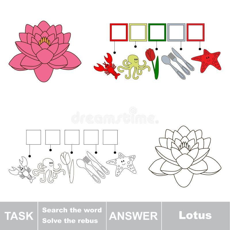Het woord Lotus zoek royalty-vrije illustratie