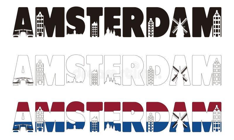 Het woord van Amsterdam met horizon die binnen omvatten vector illustratie
