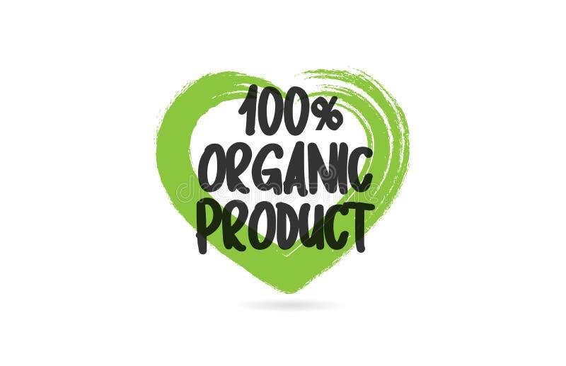 100% het woord van de biologisch producttekst met groen de vormpictogram van het liefdehart vector illustratie