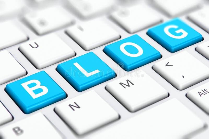 Het woord van de blogtekst op de sleutels van het computertoetsenbord stock illustratie