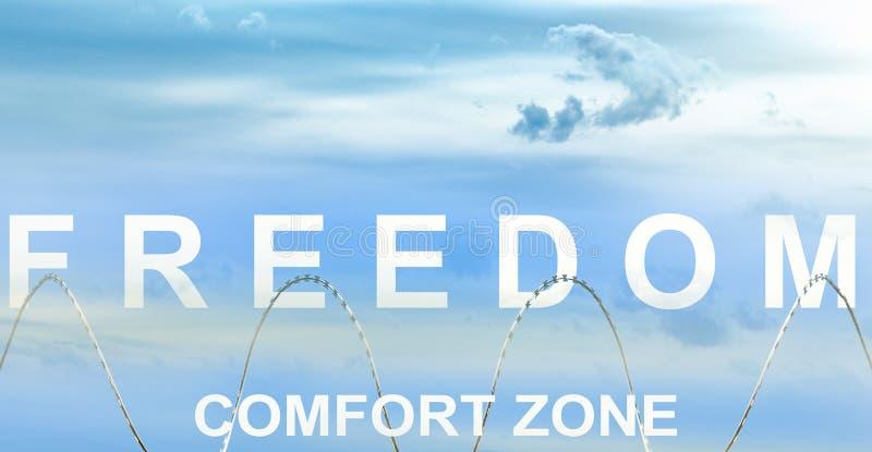 Het woord van de Comfort zone achter de razor draad en het woord van de Vrijheid in de hemel stock foto