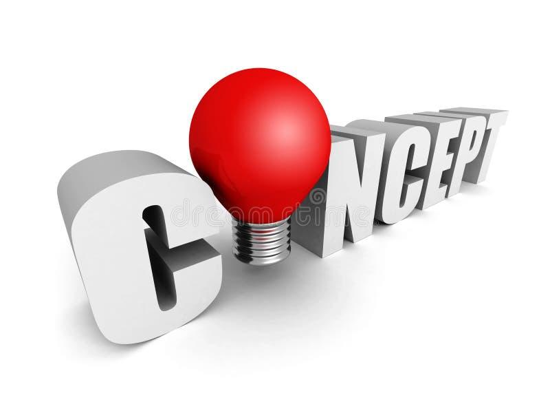 Het woord van de CONCEPTENtekst met rood lichtbol vector illustratie