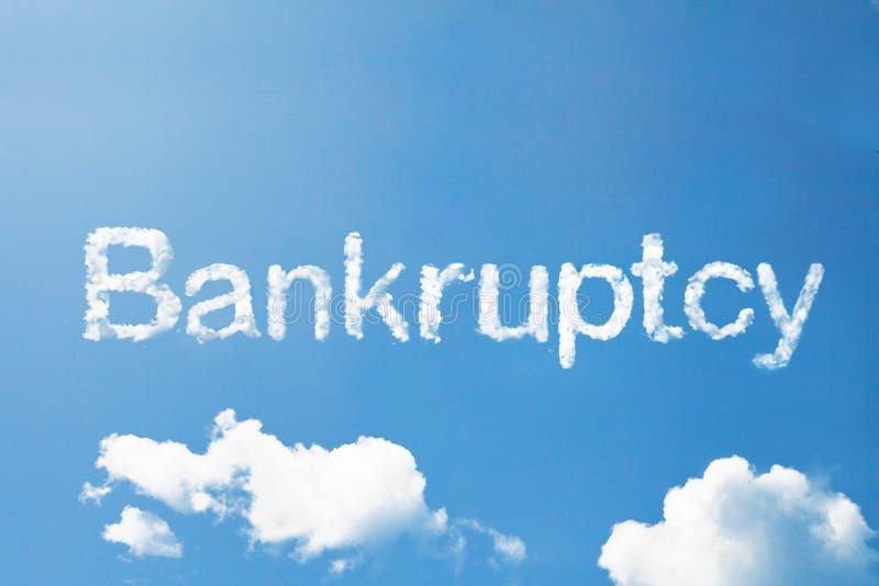 Het woord van de faillissementswolk op hemel royalty-vrije stock afbeelding