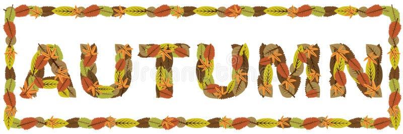 Het woord van de herfst stock illustratie