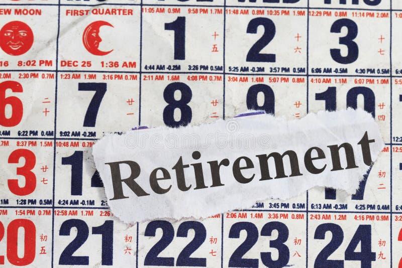 Het woord van de pensionering stock afbeeldingen