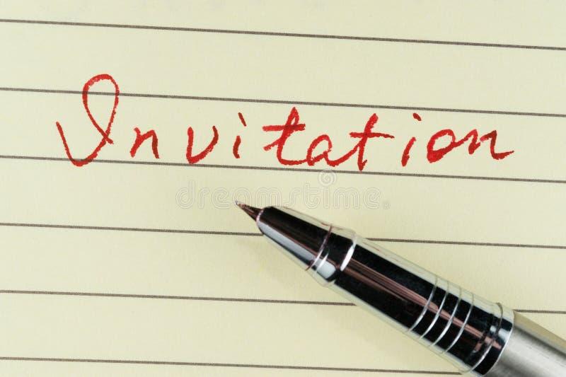 Het woord van de uitnodiging royalty-vrije stock afbeelding