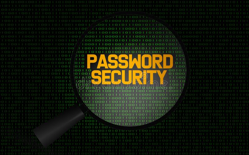 Het woord van de wachtwoordveiligheid met vergrootglas stock illustratie