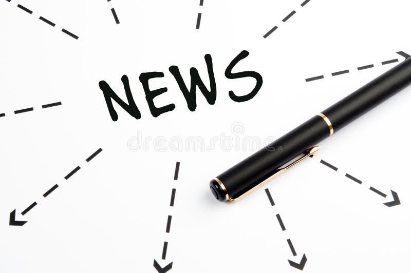 Het woord van het nieuws met pijlen en pen stock afbeelding