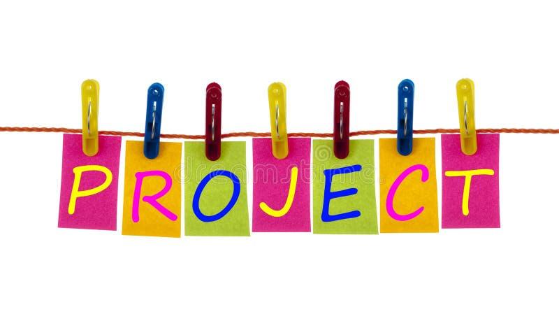 Het woord van het project op wasserijhaak stock afbeeldingen