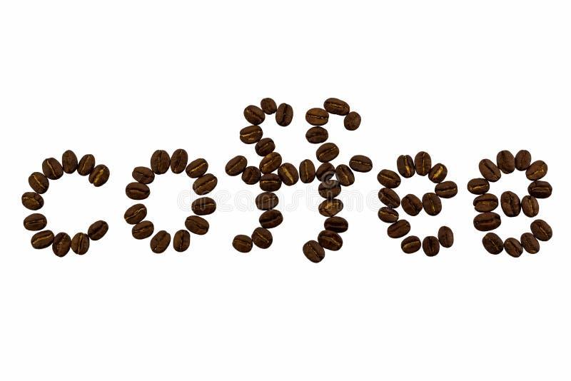 Het woord van koffie wordt gemaakt van koffiebonen stock fotografie