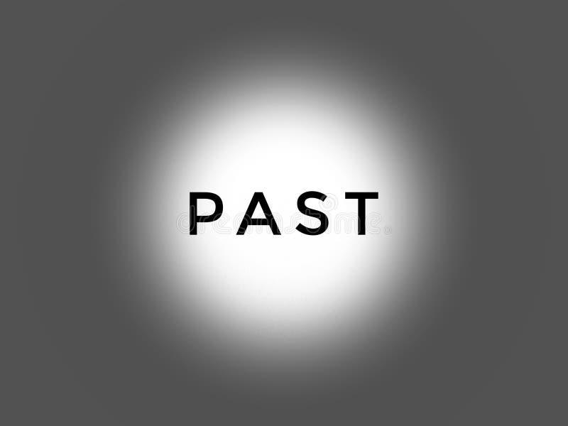 Het woord voorbij in zwarte kleur in het lichte grijs als achtergrond royalty-vrije stock afbeelding