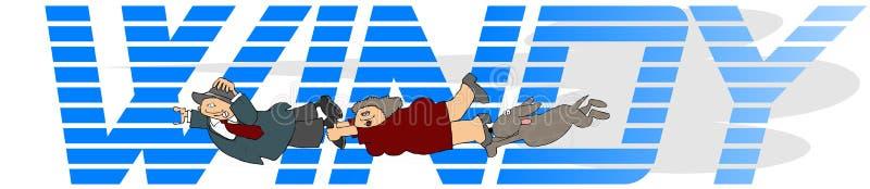 Het woord Winderig met een man, vrouw en een hond vector illustratie