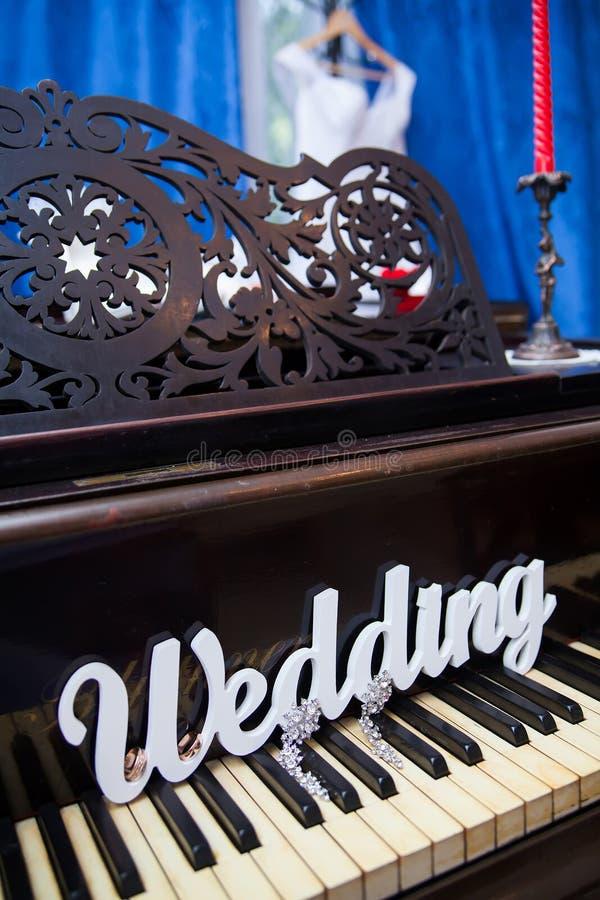 Het woordhuwelijk op de piano royalty-vrije stock foto