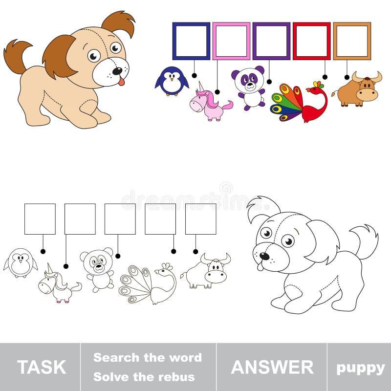 Het woordpuppy zoek stock illustratie